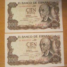 Lotes de Billetes: 100 PESETAS DE 1970 VARIAS SERIES, PAREJAS CORRELATIVAS SC. Lote 60001539