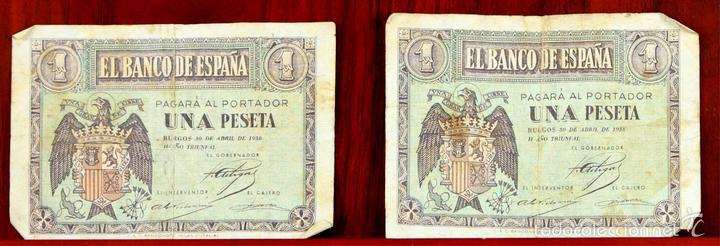 BI-058 - LOTE DE 2 BILLETES DE 1 PESETA. EL BANCO DE ESPAÑA. BURGOS. 1938. (Numismática - Notafilia - Series y Lotes)