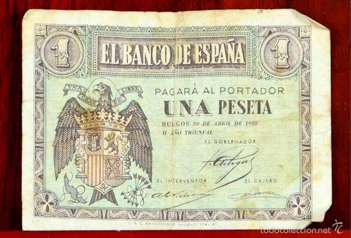 Lotes de Billetes: BI-058 - LOTE DE 2 BILLETES DE 1 PESETA. EL BANCO DE ESPAÑA. BURGOS. 1938. - Foto 2 - 60329211