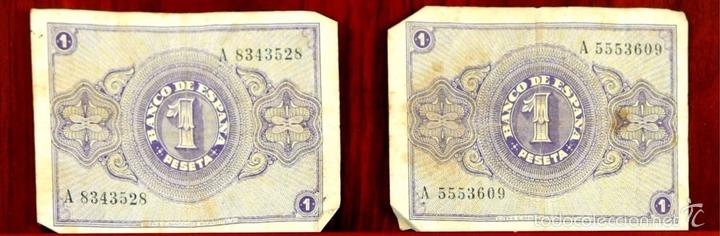 Lotes de Billetes: BI-058 - LOTE DE 2 BILLETES DE 1 PESETA. EL BANCO DE ESPAÑA. BURGOS. 1938. - Foto 3 - 60329211