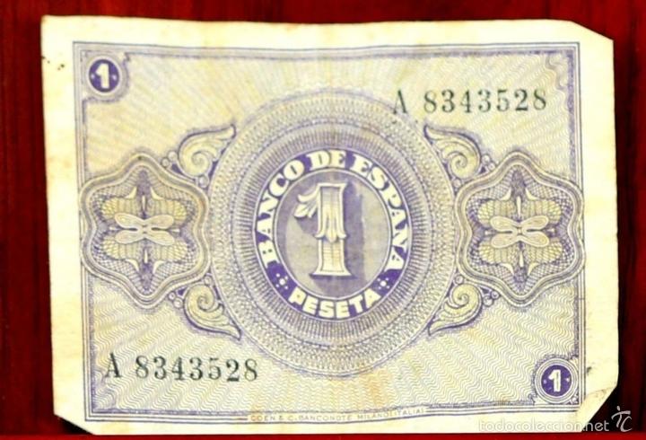 Lotes de Billetes: BI-058 - LOTE DE 2 BILLETES DE 1 PESETA. EL BANCO DE ESPAÑA. BURGOS. 1938. - Foto 4 - 60329211