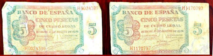 BI-059 - LOTE DE 2 BILLETES DE 5 PESETAS. EL BANCO DE ESPAÑA. BURGOS. 1938. (Numismática - Notafilia - Series y Lotes)