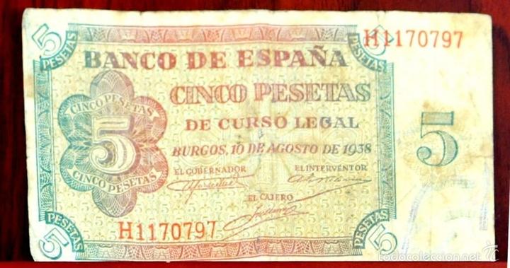 Lotes de Billetes: BI-059 - LOTE DE 2 BILLETES DE 5 PESETAS. EL BANCO DE ESPAÑA. BURGOS. 1938. - Foto 2 - 60330495