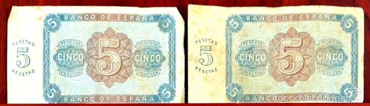 Lotes de Billetes: BI-059 - LOTE DE 2 BILLETES DE 5 PESETAS. EL BANCO DE ESPAÑA. BURGOS. 1938. - Foto 3 - 60330495