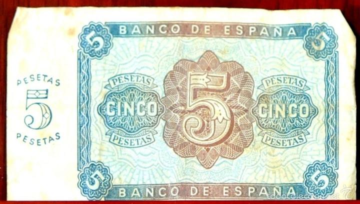 Lotes de Billetes: BI-059 - LOTE DE 2 BILLETES DE 5 PESETAS. EL BANCO DE ESPAÑA. BURGOS. 1938. - Foto 4 - 60330495