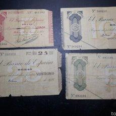 Billetes bilbao 1936 lote belarminos 5 , 25, 50 y 100 pesetas, todos los valores
