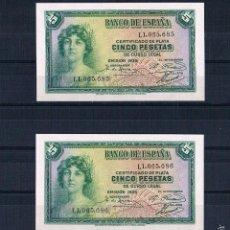 Lotes de Billetes: PAREJA CORRELATIVA DE 5 PESETAS 1935 SERIE-L PLANCHA. Lote 60759547
