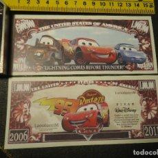 Lotes de Billetes: BILLETE CONMEMORATIVO DOLARES DOLAR - WALT DISNEY - CARS - ONE MILLON DOLAR - PÌXAR. Lote 202624495
