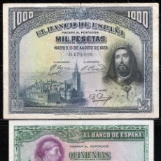 Lotes de Billetes: 2 BILLETES 500-1000 PESETAS 1928 MBC-/EBC-. Lote 63134752