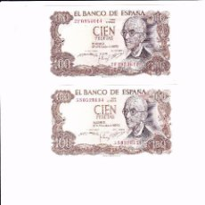 Lotes de Billetes: ESPAÑA PAREJA DE BILLETES DE 100 PTAS. DE D. MANUEL DE FALLA, SIN CIRCULAR Y EN PLANCHA. Lote 56591765