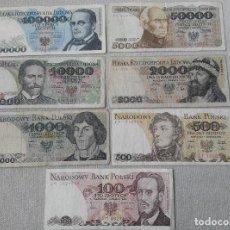 Lotes de Billetes: LOTE DE 7 BILLETES POLACOS ZLOTYCH VARIADOS ALTOS VALORES. Lote 85848524