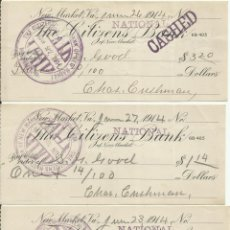 Lotes de Billetes: LOTE DE CHEQUES DE LOS EE.UU. DE NORTE AMERICA DEL AÑO 1914 NEW MARKET VIRGINIA.. Lote 96023207