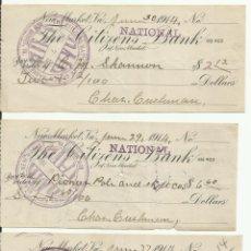 Lotes de Billetes: LOTE DE CHEQUES DE LOS EE.UU. DE NORTE AMERICA DEL AÑO 1914 NEW MARKET VIRGINIA.. Lote 96108431