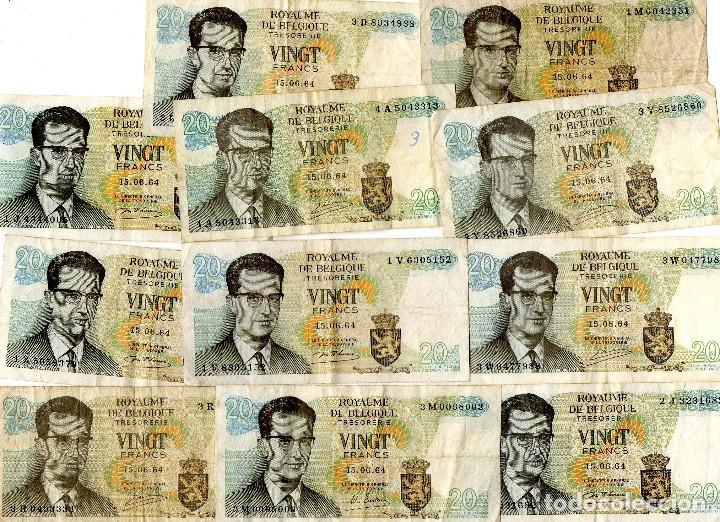 LOTE 20 BILLETES BELGICA 20 FRANCOS 1964 - 3 FIRMAS DIFERENTES (Numismática - Notafilia - Series y Lotes)