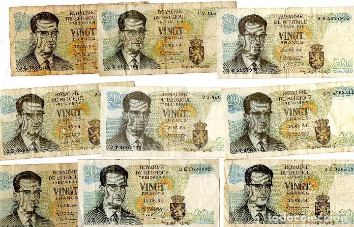Lotes de Billetes: lote 20 billetes belgica 20 francos 1964 - 3 firmas diferentes - Foto 2 - 101163783