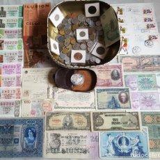 Lotes de Billetes: GRAN LOTE MONEDAS Y BILLETES, LOTERIA, SOBRES MUNDIAL ESPAÑA 1980 Y CANADA ONE OUNCE PLATA. Lote 114455047