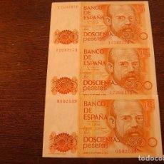 Lotes de Billetes: 3 BILLETES DE 200 PESETAS 1980 - DOS CORRELATIVOS SERIE I - UNO SIN SERIE. Lote 115377443
