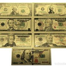 Lotes de Billetes: LOTE 7 BILLETES DE 1 A 100 DÓLARES EN LÁMINA DORADA. Lote 118216999