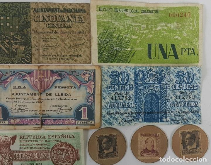 Lotes de Billetes: COLECCIÓN DE 9 BILLETES Y 4 SELLOS. ESPAÑA. 1937/1939. - Foto 3 - 123571219