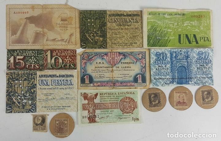 Lotes de Billetes: COLECCIÓN DE 9 BILLETES Y 4 SELLOS. ESPAÑA. 1937/1939. - Foto 5 - 123571219