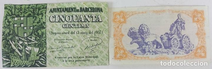 Lotes de Billetes: COLECCIÓN DE 9 BILLETES Y 4 SELLOS. ESPAÑA. 1937/1939. - Foto 6 - 123571219
