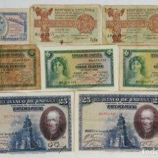 Lotes de Billetes: COLECCIÓN DE 8 BILLETES. ESPAÑA. VARIAS ÉPOCAS. CASA DE LA MONEDA Y TIMBRE. AÑOS 30.. Lote 124704259