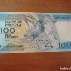 Lotes de Billetes: BILLETE DE PORTUGAL. 100 ESCUDOS. 24-11-1988. FERNANDO PESSOA.SC-UNC. Lote 129616051