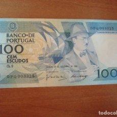 Lotes de Billetes: BILLETE DE PORTUGAL. 100 ESCUDOS. 24-11-1988. FERNANDO PESSOA. EBC. Lote 129616539