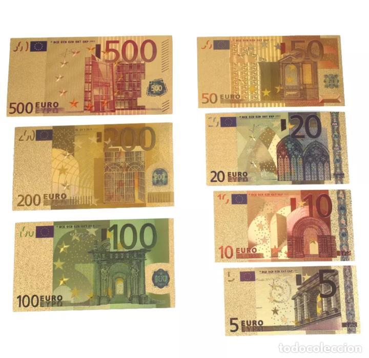 LOTE SERIE COMPLETA DE 7 BILLETES EUROS LÁMINA DORADA (Numismatik - Notaphilie - Serien und Sets)