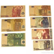 Lotes de Billetes: LOTE SERIE COMPLETA DE 7 BILLETES EUROS LÁMINA DORADA. Lote 150807965