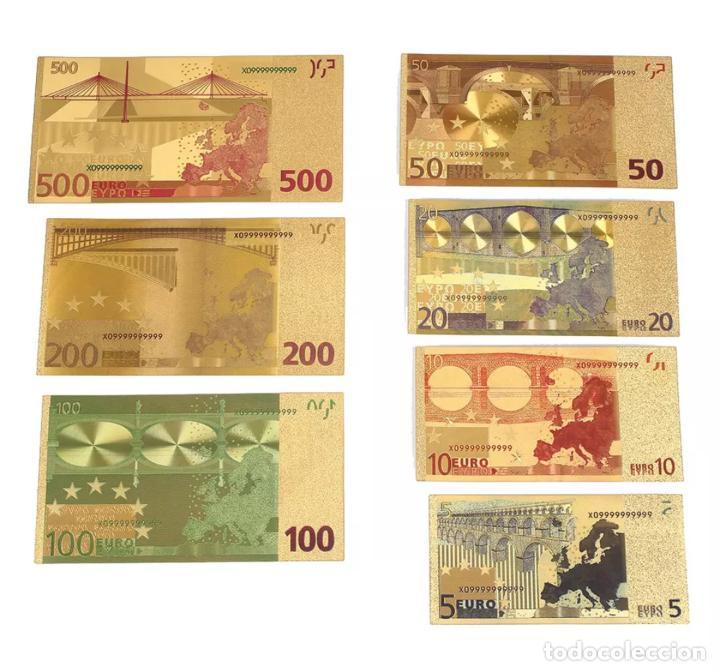 Serien von Banknoten: Lote serie completa de 7 billetes euros lámina dorada - Foto 2 - 152013989