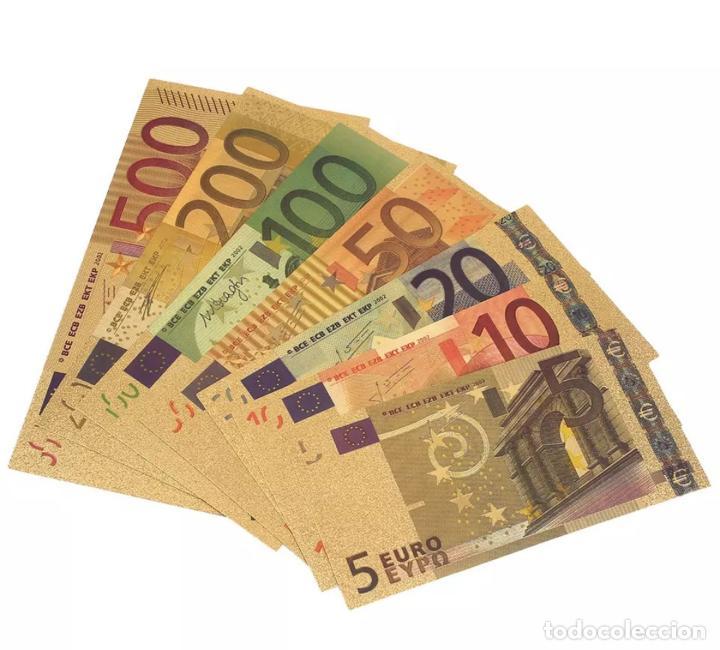 Serien von Banknoten: Lote serie completa de 7 billetes euros lámina dorada - Foto 3 - 152013989