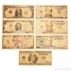 Lotes de Billetes: LOTE SERIE COMPLETA DE 7 BILLETES DÓLARES LÁMINA DORADA. Lote 137254849
