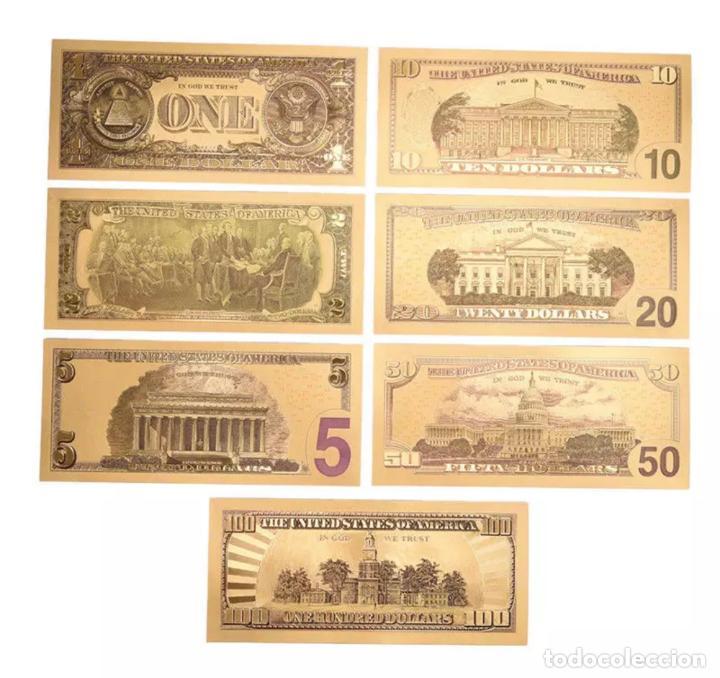 Serien von Banknoten: Lote serie completa de 7 billetes dolares lámina dorada - Foto 2 - 147644274