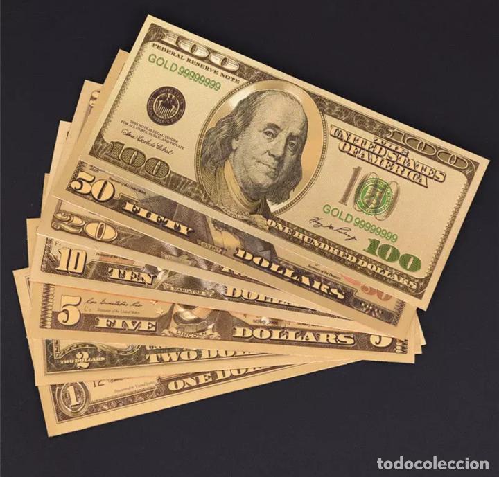 Serien von Banknoten: Lote serie completa de 7 billetes dolares lámina dorada - Foto 3 - 147644274