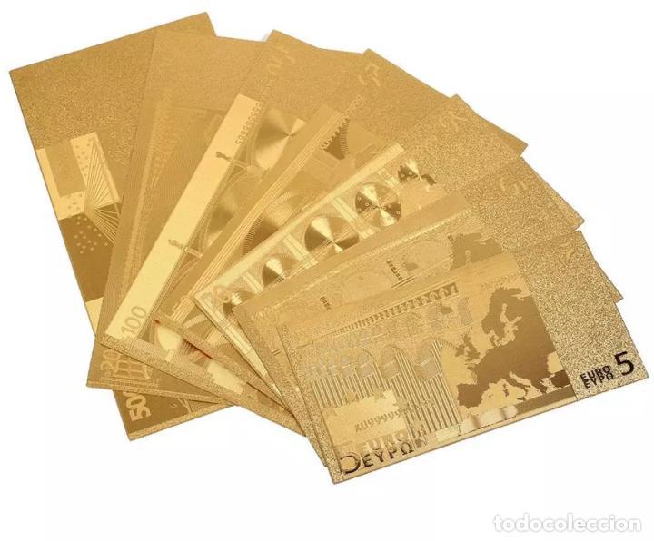 Serien von Banknoten: Lote serie completa de 7 billetes euros lámina dorada - Foto 4 - 147643710