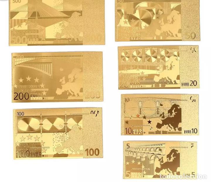 Serien von Banknoten: Lote serie completa de 7 billetes euros lámina dorada - Foto 5 - 147643710