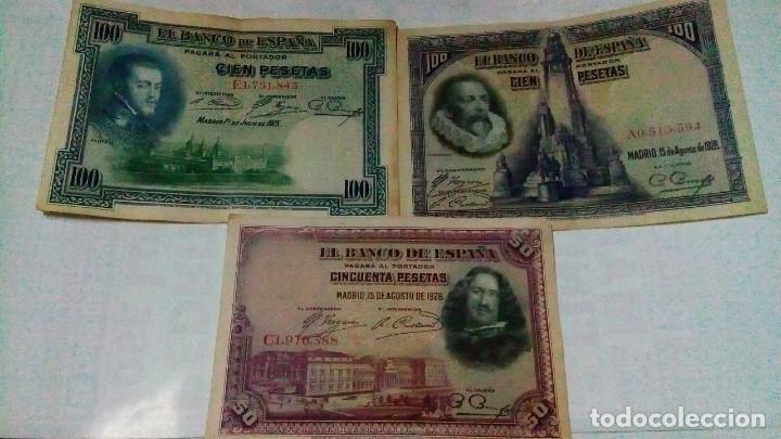 LOTE DE 3 BILLETES DE100 Y 50 PESETAS DE LA REPUBLICA (Numismatik - Notaphilie - Serien und Sets)
