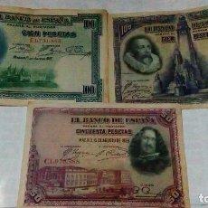 Lotes de Billetes: LOTE DE 3 BILLETES DE100 Y 50 PESETAS DE LA REPUBLICA. Lote 140905002