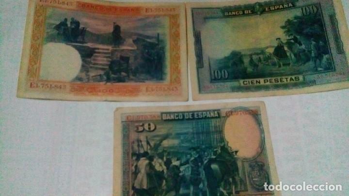 Serien von Banknoten: Lote de 3 billetes de100 y 50 pesetas de la republica - Foto 2 - 140905002