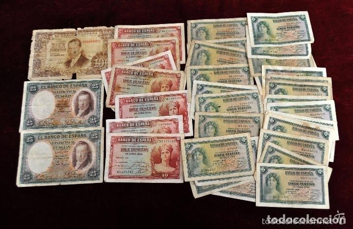 LOTE DE 38 BILLETES ESPAÑOLES DE DISTINTOS VALORES (Numismática - Notafilia - Series y Lotes)