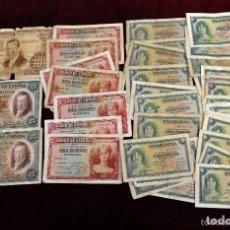 Lotes de Billetes: LOTE DE 38 BILLETES ESPAÑOLES DE DISTINTOS VALORES. Lote 130469816