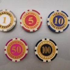 Lotes de Billetes: LOTE FICHAS CASINO LAS VEGAS 1,5,10,50 Y 100$. Lote 156150720