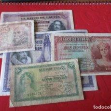 Lotes de Billetes: ESPAÑA.- LOTE DE 5 BILLETES ANTIGUOS DIFERENTES. Lote 156590910