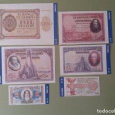 Lotes de Billetes: LOTE DE 6 RÉPLICAS DE BILLETES DE PESETAS FACSÍMIL DE LA COLECCIÓN DE LA PESETA AL EURO 1.999 . Lote 158933246