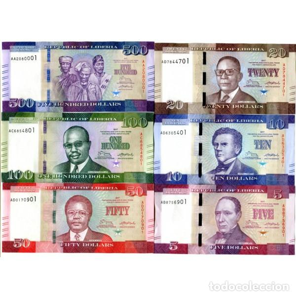 LIBERIA 5 10 20 50 100 500 DOLLARS 2017(2018) P-31B-36B UNC SET OF 6 PCS BILLETES (Numismática - Notafilia - Series y Lotes)