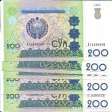 Lotes de Billetes: LOTE DE 5 BILLETES UZBEQUISTAN 200 SUM 1997. Lote 173816798
