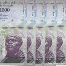 Lotes de Billetes: LOTE DE 5 BILLETES VENEZUELA 1000 BOLIVARES 2017. Lote 173816904