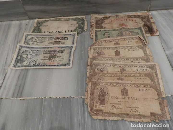 LOTE 11 BILLETES ANTIGUOS DE RUMANIA - 1940 - 10.000 LEI - 1000 LEI (Numismática - Notafilia - Series y Lotes)