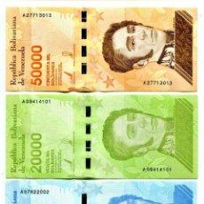 Lotes de Billetes: VENEZUELA 10000 20000 50000 BOLIVARES SOBERANO 2019 P-NEW UNC SET OF 3 BILLETES. Lote 221741210